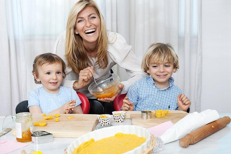 Federica Fontana with her kids