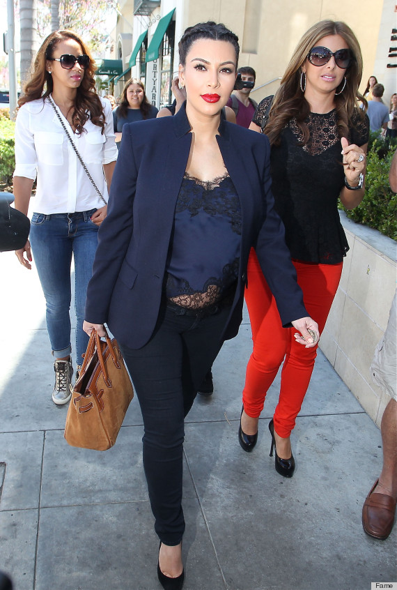 Pregnant Kim Kardashian Out With Friends In Beverly Hills